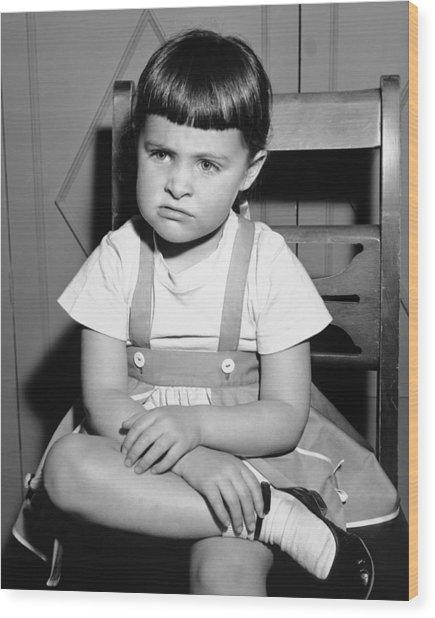 Sulking Girl (4-5) Sitting On Chair, (b&w), Wood Print by George Marks