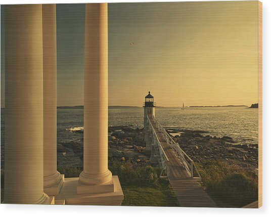 Sunset At Marshall Point Light Wood Print