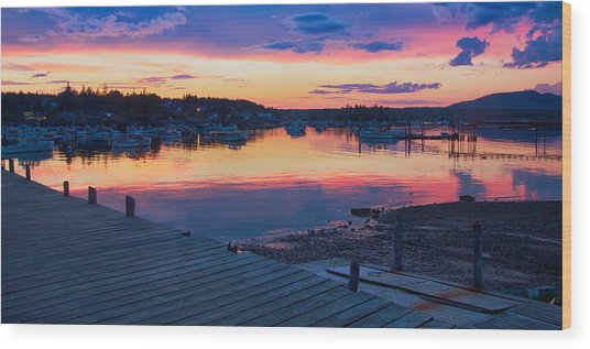 Sunset Bass Harbor Maine Wood Print