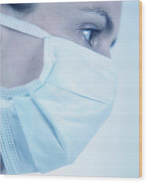 Surgical Mask Wood Print by Cristina Pedrazzini