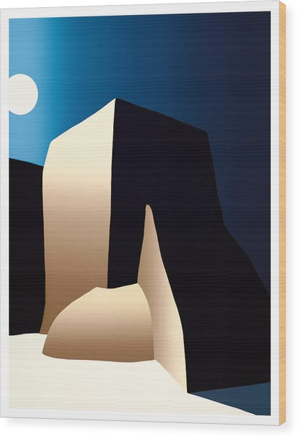 Taos Moon Wood Print by Ed Wyatt