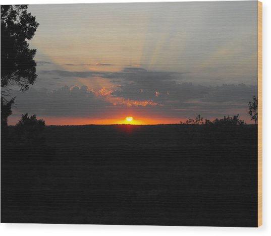 Texas Sunset Wood Print by Rebecca Cearley