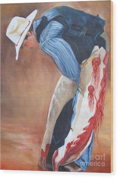 The Bull Rider Wood Print by Barbara Haviland