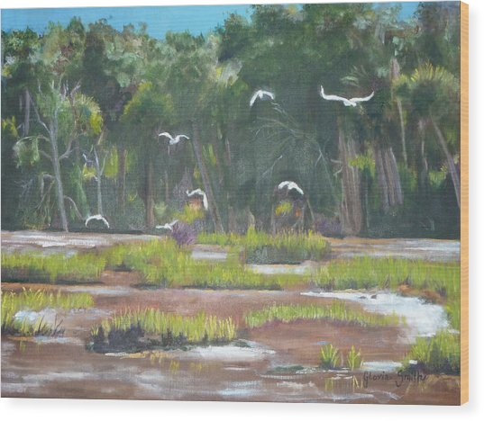 The Marshes Wood Print by Gloria Smith