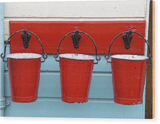 Three Red Buckets Wood Print