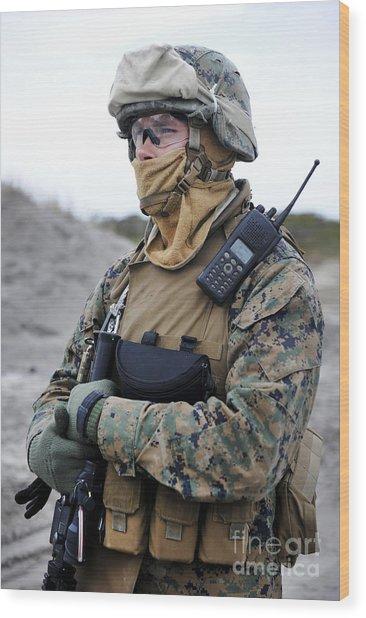 U.s. Marine Provides Security Wood Print