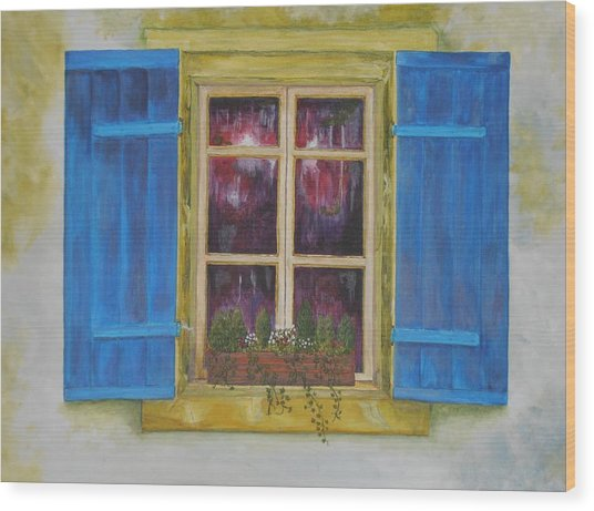 Viva Le Bleu Wood Print by Siobhan Lawson