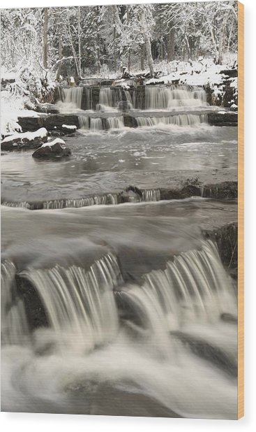 Waterfalls With Fresh Snow Thunder Bay Wood Print
