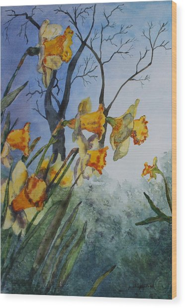 Welcome Springtime Wood Print by Patsy Sharpe