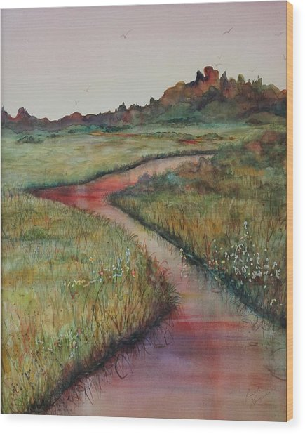Wood Print featuring the painting Wetlands by Ruth Kamenev