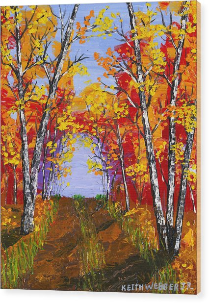 White Birch Tree Abstract Painting In Autumn Wood Print