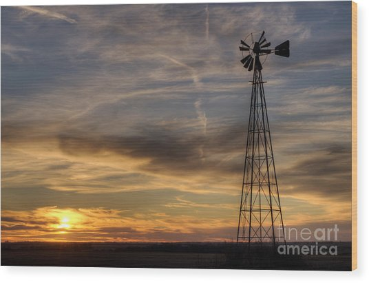 Windmill And Sunset Wood Print