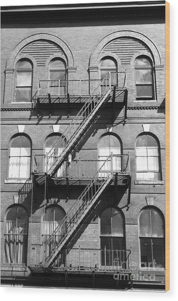 Windows And Fire Escapes Bangor Maine Architecture Wood Print by John Van Decker