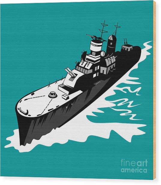 World War Two Battleship Warship Cruiser Retro Wood Print by Aloysius Patrimonio
