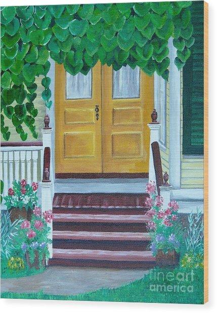 Yellow Door Wood Print