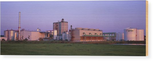 Corn Ethanol Processing Plant Wood Print by David Nunuk