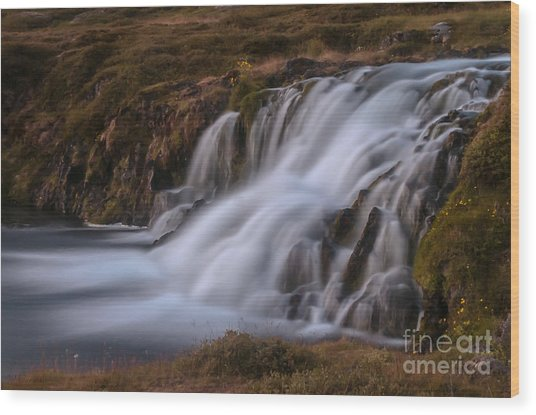 Waterfall Wood Print by Jorgen Norgaard