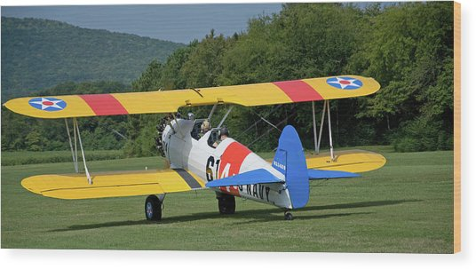 1941 Stearman Taxiing For Takeoff Wood Print by Jim and Kim Shivers