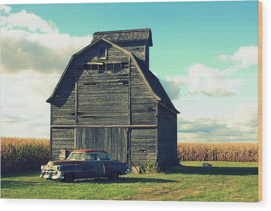 1950 Cadillac Barn Cornfield Wood Print