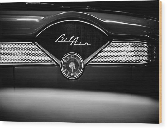 1955 Chevy Bel Air Glow Compartment In Black And White Wood Print