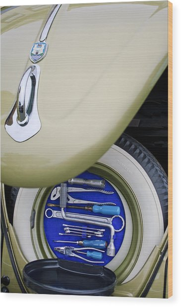 Wood Print featuring the photograph 1956 Volkswagen Vw Bug Tool Kit by Jill Reger