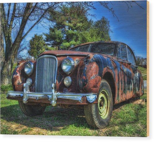 1957 Jaguar Sedan Wood Print by Steve Hurt