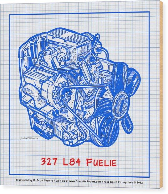 1963 - 1965 L84 327 Corvette Fuelie Engine Blueprint Wood Print