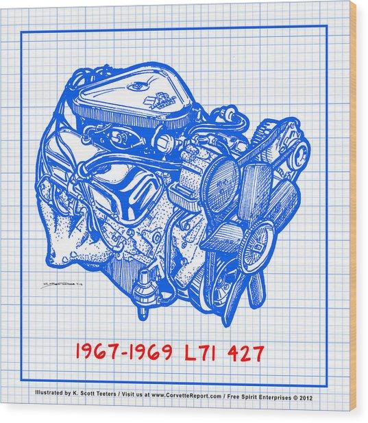 1967 - 1969 L71 427-435 Corvette Engine Blueprint Wood Print