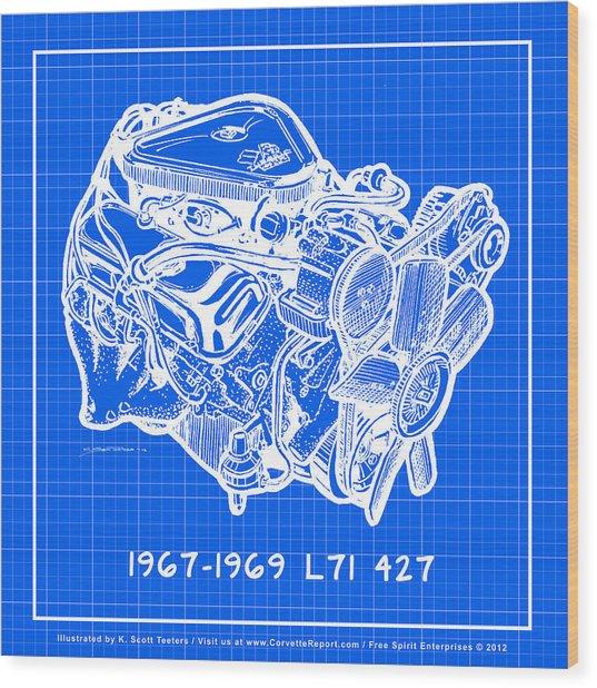 1967 - 1969 L71 427-435 Corvette Engine Reverse Blueprint Wood Print