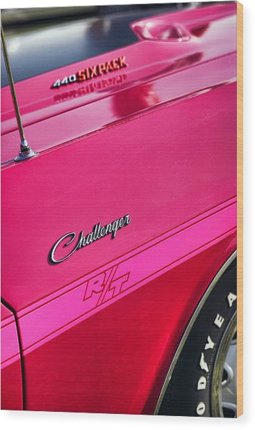 1970 Dodge Challenger Rt 440 Six Pack - Tickled Pink Wood Print
