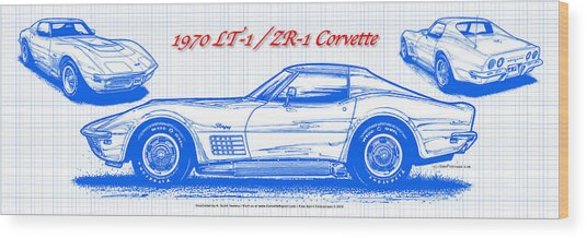 1970 Lt-1 And Zr-1 Corvette Blueprint Wood Print