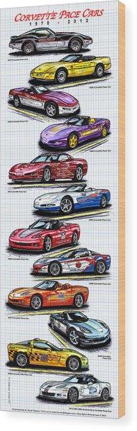 1978 - 2008 Indy 500 Corvette Pace Cars Wood Print