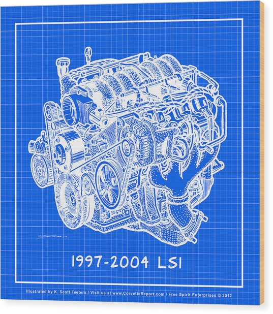 1997 - 2004 Ls1 Corvette Engine Reverse Blueprint Wood Print