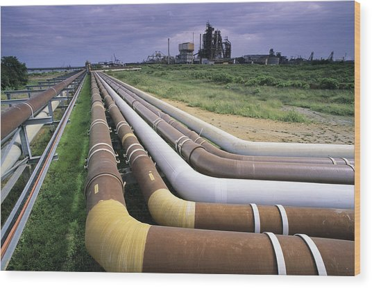 Cooling Pipes Wood Print by David Nunuk