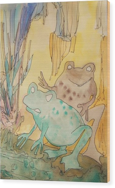 2 Frogs Wood Print by James Christiansen