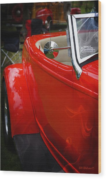 Hot Rod Red Ford Wood Print by SM Shahrokni