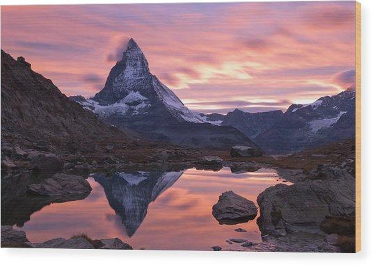 Matterhorn Sunset Wood Print by Mark Haley