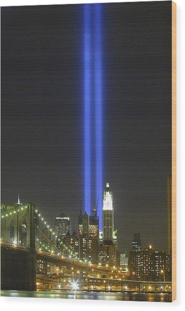 Nyc Tribute Lights Wood Print