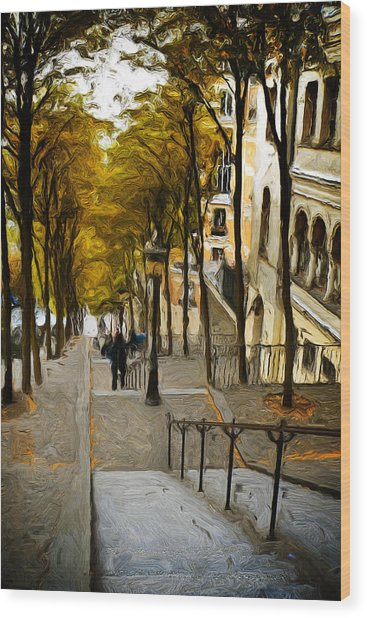 Paris Stairs Wood Print