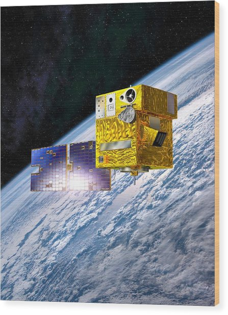 Picard Satellite, Artwork Wood Print by David Ducros