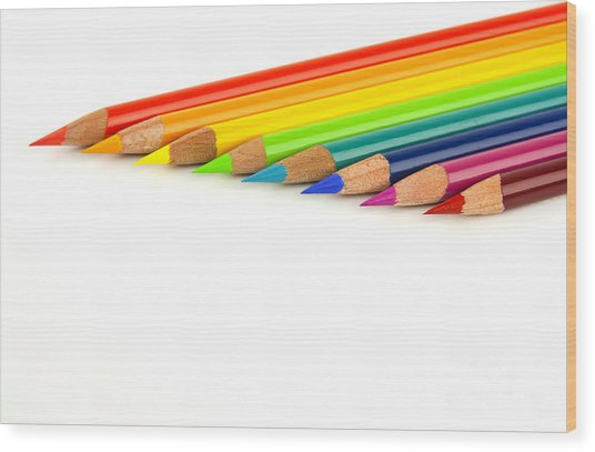 Rainbow Colored Pencils Wood Print