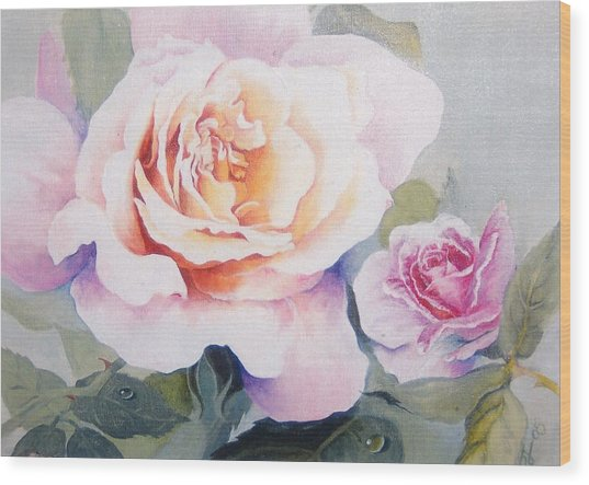 Roses And Waterdroplets Wood Print