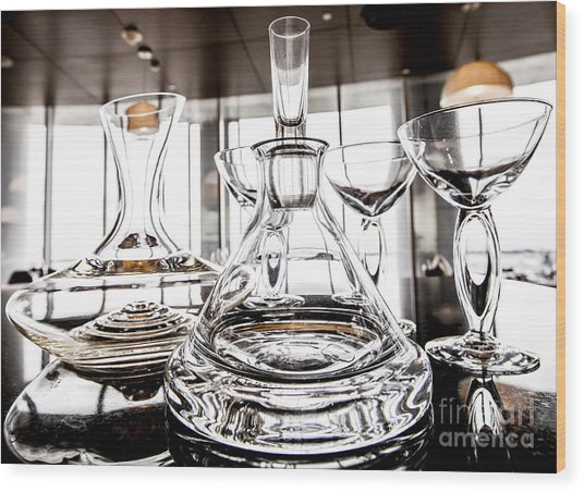 Shadow Of Luxury Glass Wood Print by Chavalit Kamolthamanon