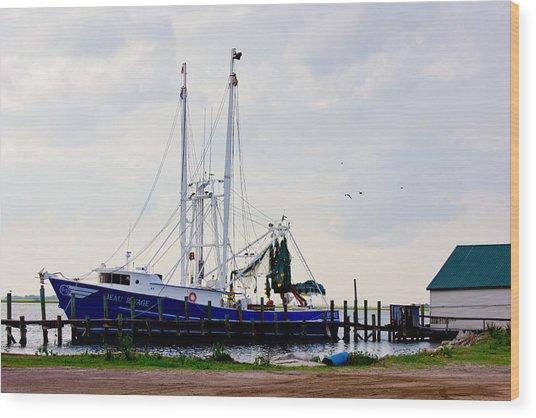 Shrimp Boat At Dock Wood Print by Barry Jones