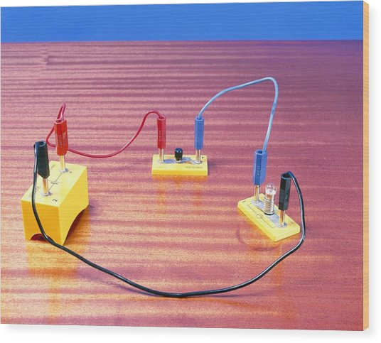 Simple Electrical Circuit Wood Print by Andrew Lambert Photography