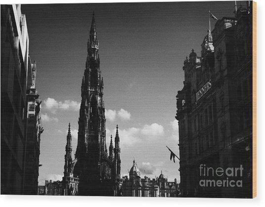 Sir Walter Scott Monument Princes Street Edinburgh Scotland Uk United Kingdom Wood Print by Joe Fox