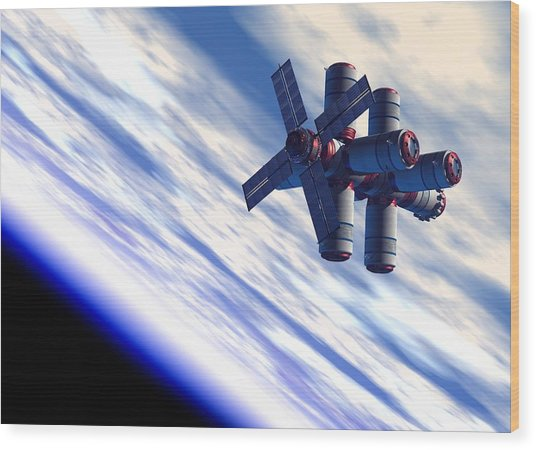 Space Hotel, Artwork Wood Print by Victor Habbick Visions