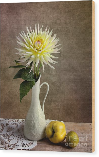Still Life With Dahila Wood Print