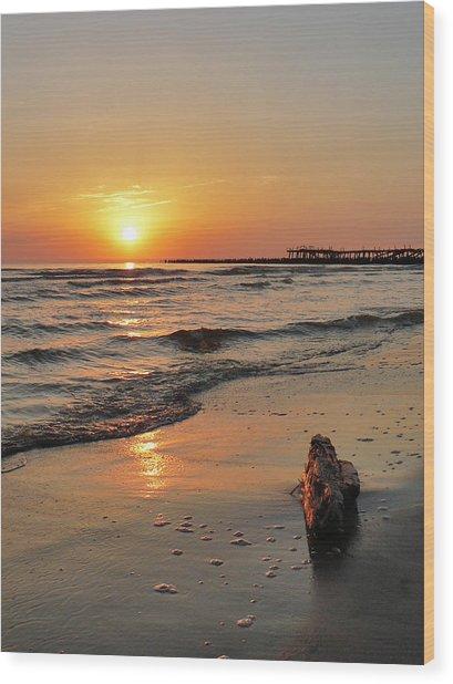 Sunset At Sea Coast Wood Print
