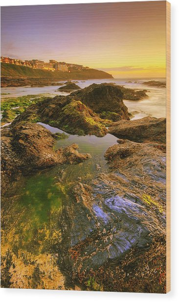 Sunset By The Ocean Wood Print
